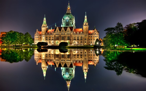 Wallpaper Hannover, Germany, night, house, lights, water reflection