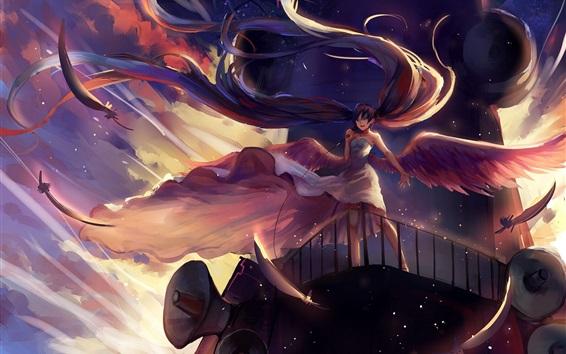 Обои Hatsune Мику, длинные волосы аниме девушка, микрофон, крылья, ангел
