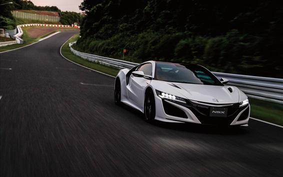 Обои Honda NSX вид белый суперкар спереди, скорость, сумерек