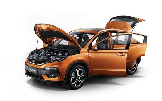Обои Honda XR-V оранжевый внедорожник автомобиль, все двери открыты
