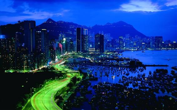 Wallpaper Hong Kong city night, skyscrapers, road, lights, pier, yacht