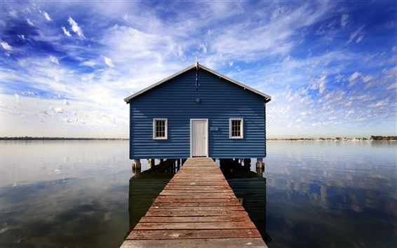 Обои Дом в озере, пирс, облака