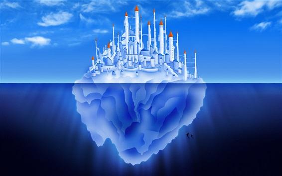 Wallpaper Iceberg, castle, city, blue sea, creative pictures
