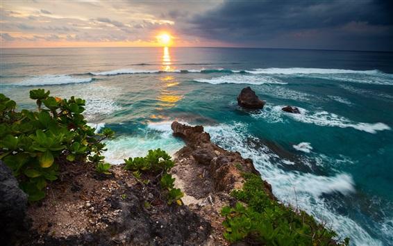 Fond d'écran L'Indonésie, l'île de Bali, tropical nature paysage, mer, vagues, coucher de soleil