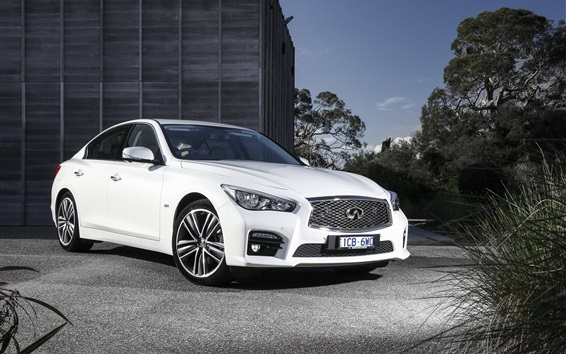 Wallpaper Infiniti Q50 white car at night