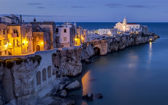 Wallpaper Italy, Adriatic Sea, Vieste, city, night, houses, lights