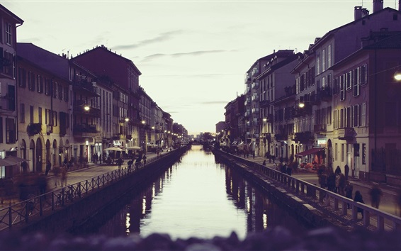 Wallpaper Italy Milan, canal, houses, dusk
