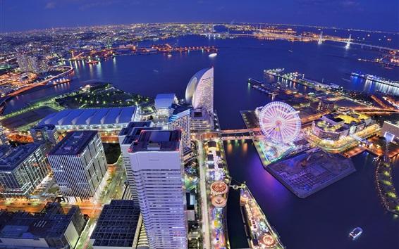 壁紙 日本、横浜、都市、大都市、建物、住宅、観覧車、湾、夜