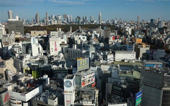Fond d'écran ville paysages japonais, des maisons, des gratte-ciel