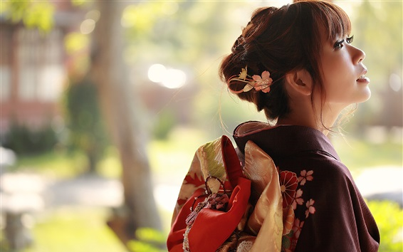 Wallpaper Japanese girl back view, kimono