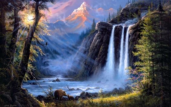 Wallpaper Jesse Barnes art painting, landscape, waterfalls, trees, bears