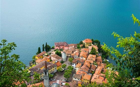 Fond d'écran Lac de Côme, Varenna, Italie, maisons