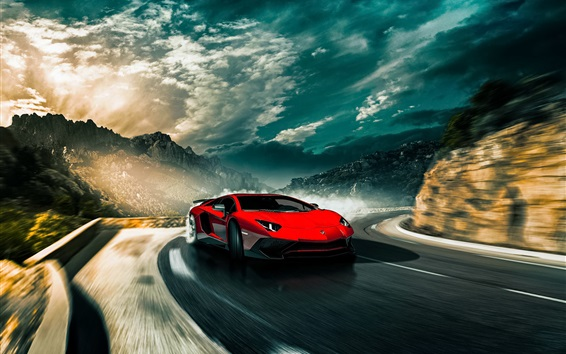 Wallpaper Lamborghini Aventador LP750-4 SV red supercar speed