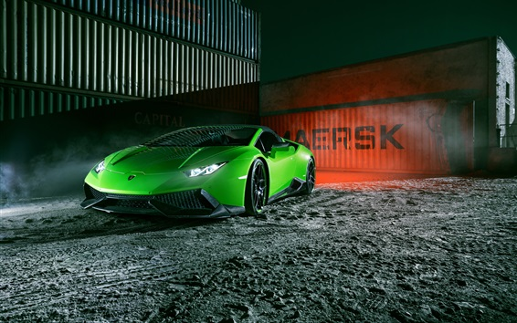 Wallpaper Lamborghini Huracan Spyder green supercar front view, night, dock