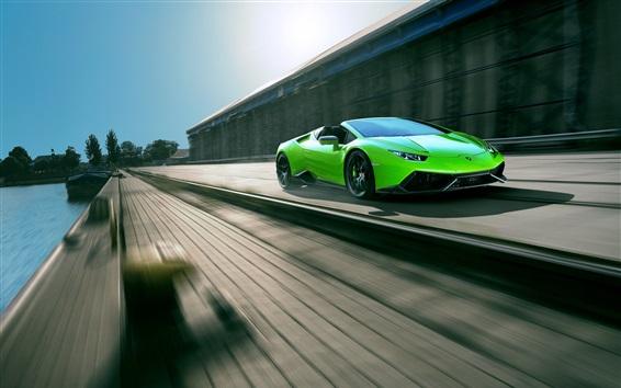 Fondos de pantalla Lamborghini Spyder Huracan superdeportivo verde de alta velocidad