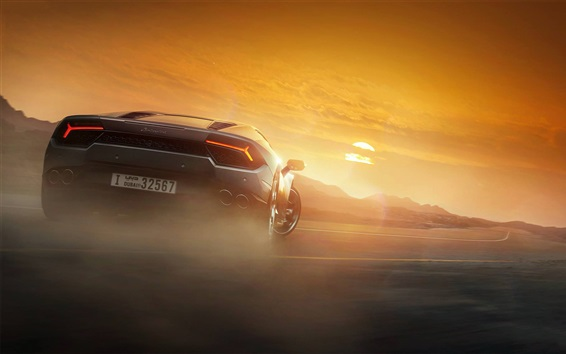 Wallpaper Lamborghini Huracan supercar back view at sunset