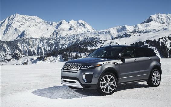 Обои Land Rover Range Rover серый внедорожник в снегу зимой