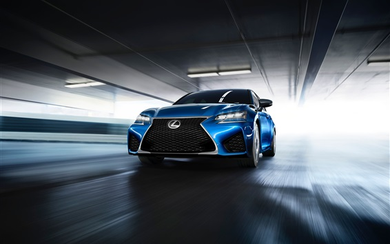 Wallpaper Lexus GS F blue car front view and speed