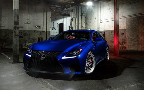 Обои синий автомобиль вид спереди Lexus RCF