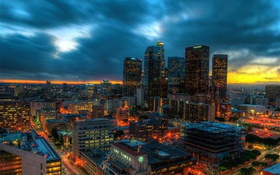 Обои Лос-Анджелес, Калифорния, США, небоскребы, огни, вечер, облака, закат
