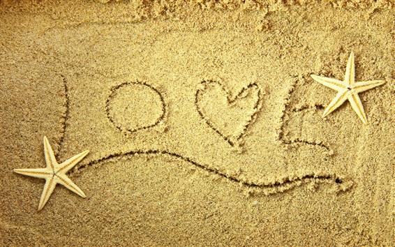 Papéis de Parede Amo praia, areia, estrela do mar