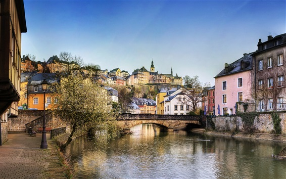 Wallpaper Luxembourg, houses, bridge, river, trees
