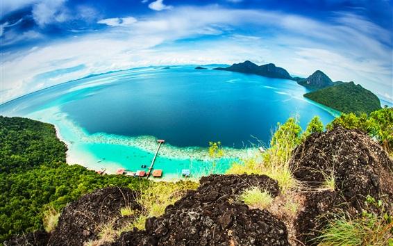Papéis de Parede Malásia bela natureza, Bohey Dulang Island, mar azul