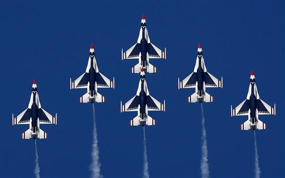 Обои Многие самолеты, истребитель полета, воздушное шоу