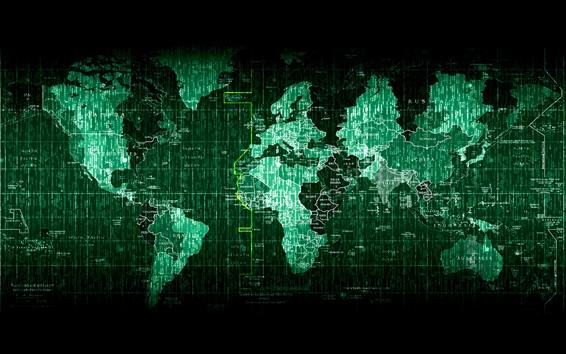Wallpaper Matrix world map, digital pictures, creative