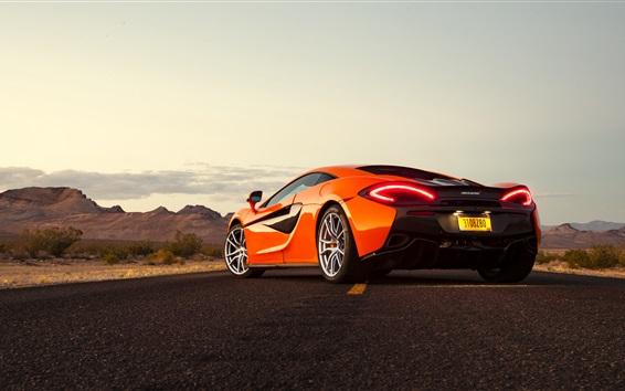 Wallpaper McLaren 570S orange supercar back view