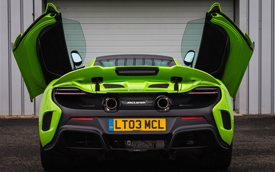 Wallpaper McLaren 675LT green supercar rear view