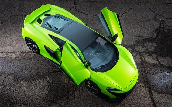 Fond d'écran McLaren 675LT ailes supercar verte