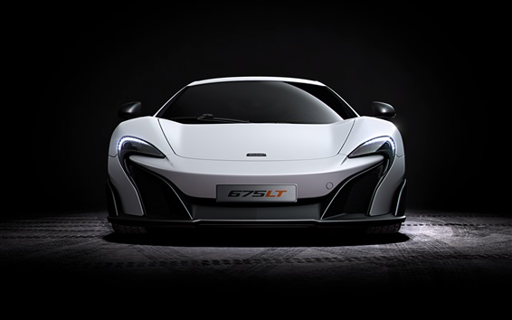 Wallpaper McLaren 675LT white supercar front view