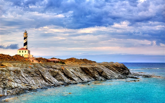 Wallpaper Menorca, Spain, lighthouse, sea, coast