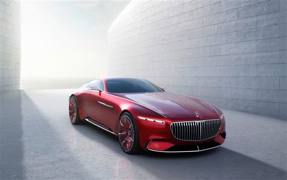 Wallpaper Mercedes-Benz Maybach 6 red color car