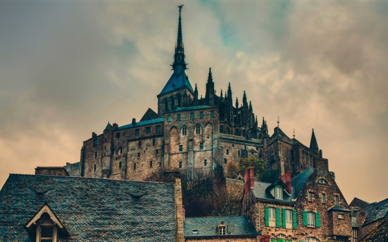 Wallpaper Mont Saint-Michel, France, castle, tower, dusk, clouds