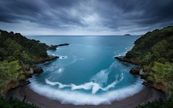 Fond d'écran Matin, aube, mer, vagues, côte, plage, île, arbres, ciel, nuages