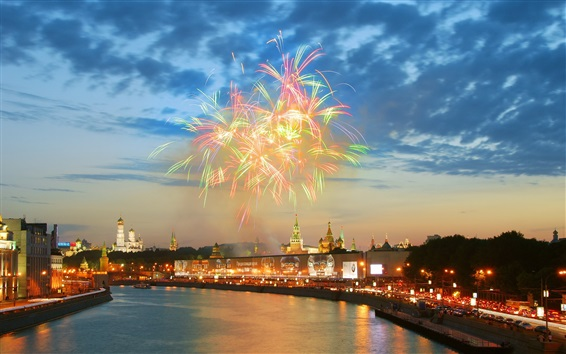 Wallpaper Moscow, Kremlin, river, fireworks, houses, night, lights