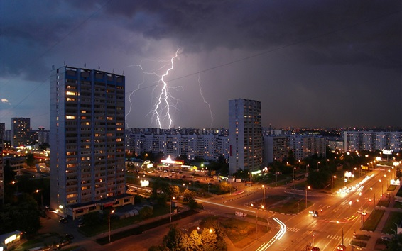 Wallpaper Moscow night city, lightning, road, houses, lights