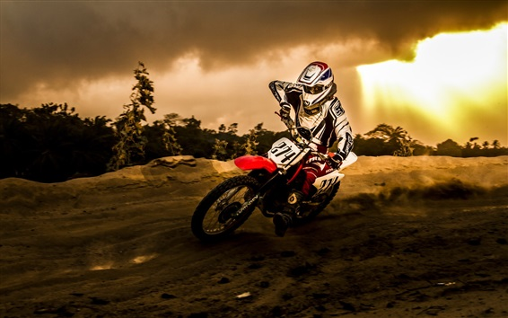 Wallpaper Motorcycle racing, sun, clouds, dusk
