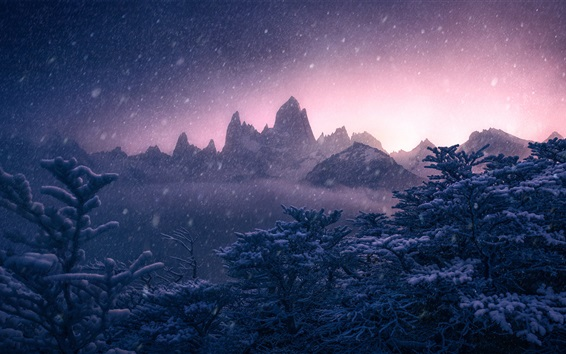 Wallpaper Mount Fitz Roy, Argentina, Andes, winter, snow, trees, mountains, dusk