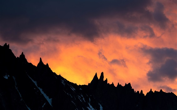 Wallpaper Mountain, sunset, clouds, silhouette