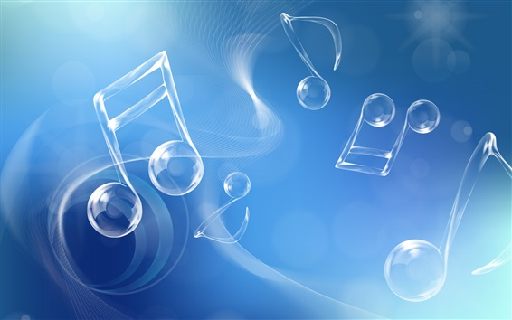 Wallpaper Musical note, blue style