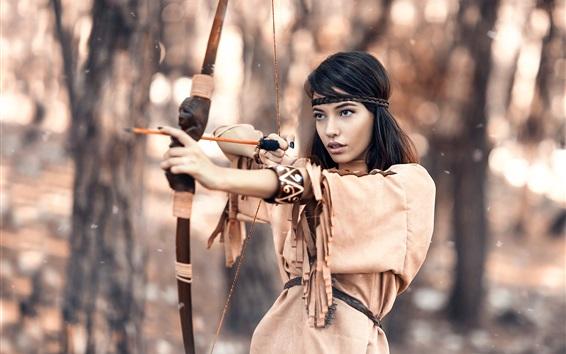 Fond d'écran chasseur autochtone, fille noire de cheveux, arc