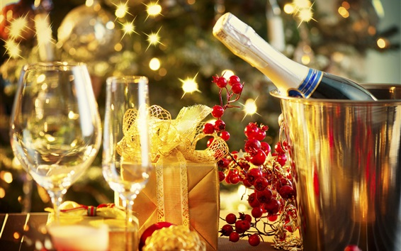Wallpaper New Year, champagne, glass cups, gift, berries, glare