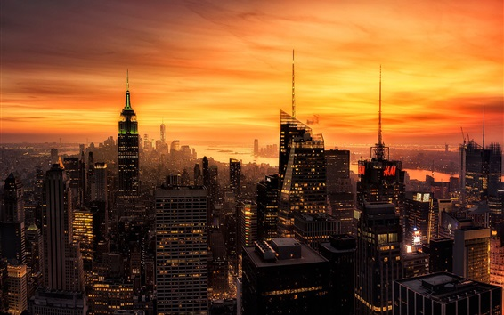 Wallpaper New York city at evening, skyscrapers, lights, red sky, America