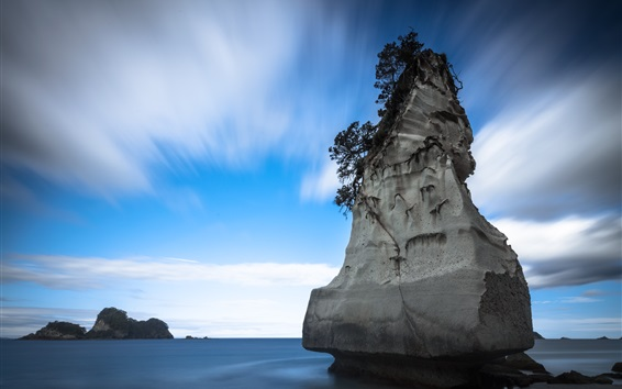 Wallpaper New Zealand, Cathedral Cove, sea, rocks, island, blue sky