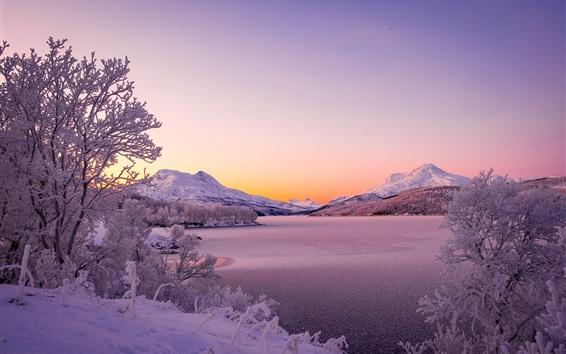 Обои Норвегия, Скандинавские горы, озеро, зима, толстый снег, деревья