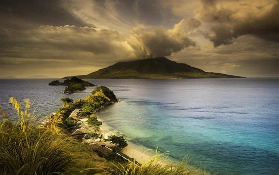 Wallpaper Ocean, island, resort, clouds, dusk