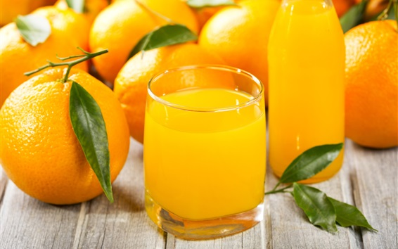 Wallpaper Orange juice, citrus, fruits, cups
